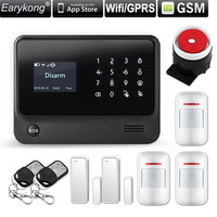 2.4G WiFi GSM Alarm system Compatible GPRS IOS Android APP Control Touch Keyboard Support 5 language Switch