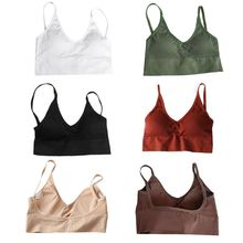 Women Sexy Deep V-Neck Bralette Underwear Ribbed Striped Solid Color Crop Top Push Up Padded U Backless Camisole Wire Free Vest
