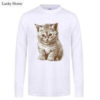 2017 Autumn Man Clothing Hipster Cat Design 3D T Shirt Men Tops Brand Long Sleeve Cotton