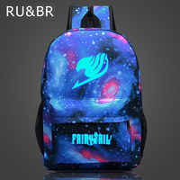 RU BR Fairy Tail Backpack Cartoon Travel Bag Japan Anime Printing School Bag For Teenagers Nylon