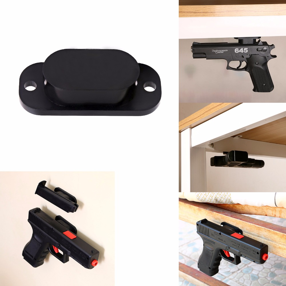 25LB Rating Gun Magnet Concealed Gun Holder for Desk Bed Under Table Car Free Anti Scratch Cover and Screws