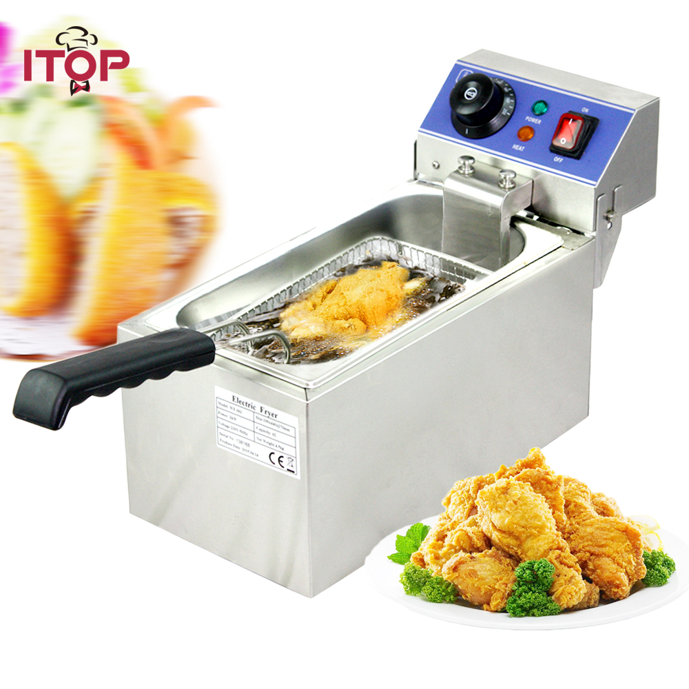 ITOP Single Tank 6L Electric Deep Fryers Stainless Steel smokeless French Fries Chicken Frying grill Kitchen Commercial Fryers Картофель фри