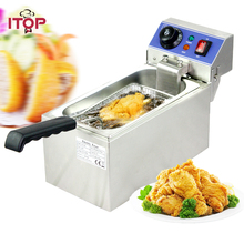 ITOP Single Tank 6L Electric Deep Fryers Stainless Steel smokeless French Fries Chicken Frying grill Kitchen Commercial
