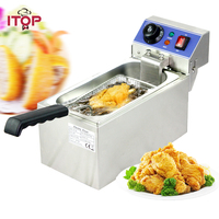 ITOP Single Tank 6L Electric Deep Fryers Stainless Steel smokeless French Fries Chicken Frying grill Kitchen Commercial Fryers