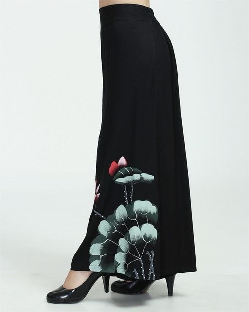 High Fashion Black Chinese Traditional Style Women Elegant Elastic Band Capris Print Wide-legged pants Size M L XL XXL