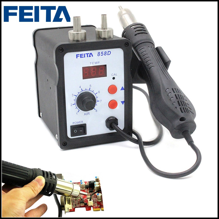 FEITA 858D 110V/220V SMD Rework Soldering Station LED Digital Hot Air Gun Desoldering Station 1set 220v 858d digital smd soldering desoldering station kit hot air rework gun tool 3 nozzles heat gun soldering tools newest