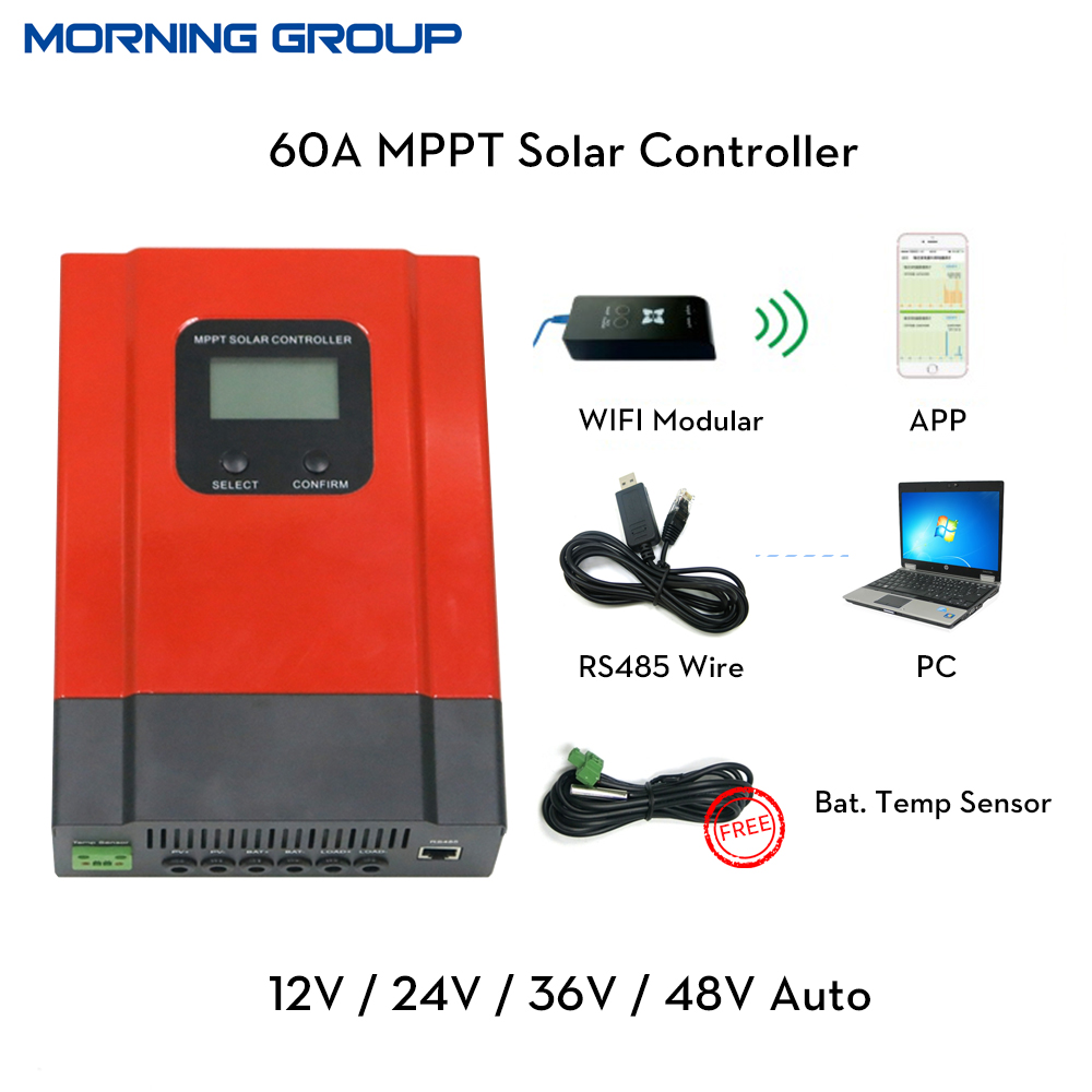 eSmart3 60A MPPT Solar Charge Controller 12V 24V 36V 48V Auto LCD Display with RS485 communication PC software WIFI mobile APP 60a 12v 24v 48v solar charge controller engineering premium quality com rs232 with pc page 1