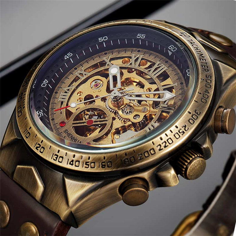 Men Watch Clock Mechanical Bronze Skeleton Automatic Military Sport Luxury Top-Brand
