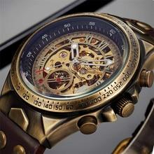 남자 시계 해골 자동 기계 남성 시계 톱 브랜드 럭셔리 레트로 청동 스포츠 군사 손목 시계 relogio masculino