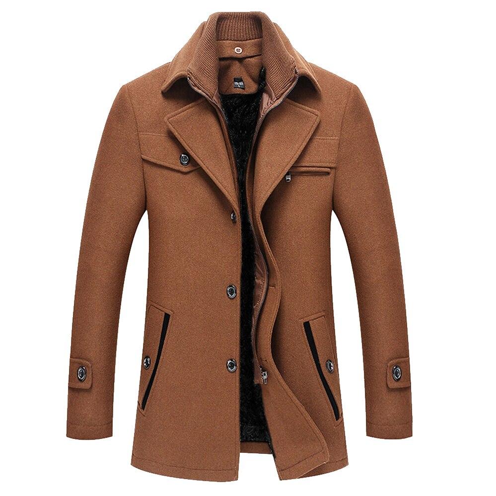 Laine couleur unie pardessus laine manteaux veste hommes 2019 hiver Cardigans manteau épais polaire longue Pure vestes à glissière coupe-vent
