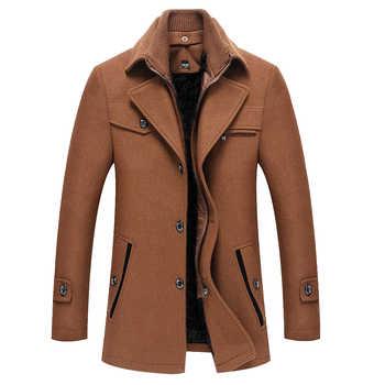 Wool Solid Color Overcoat Woolen Coats Jacket Men 2019 Winter Cardigans Coat Thick Fleece Long Pure Zipper Jackets Windbreaker - DISCOUNT ITEM  40% OFF All Category