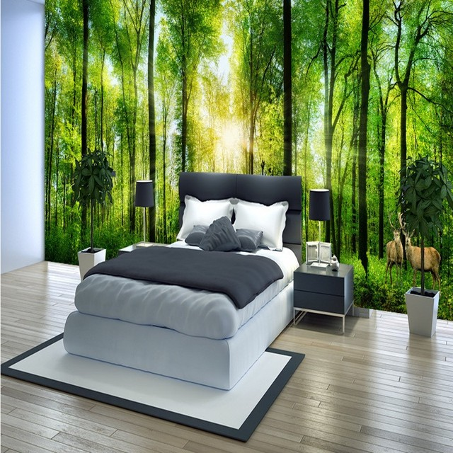 jungle 3d mural wall forest painting landscape background living bedroom decoration custom zoom mouse