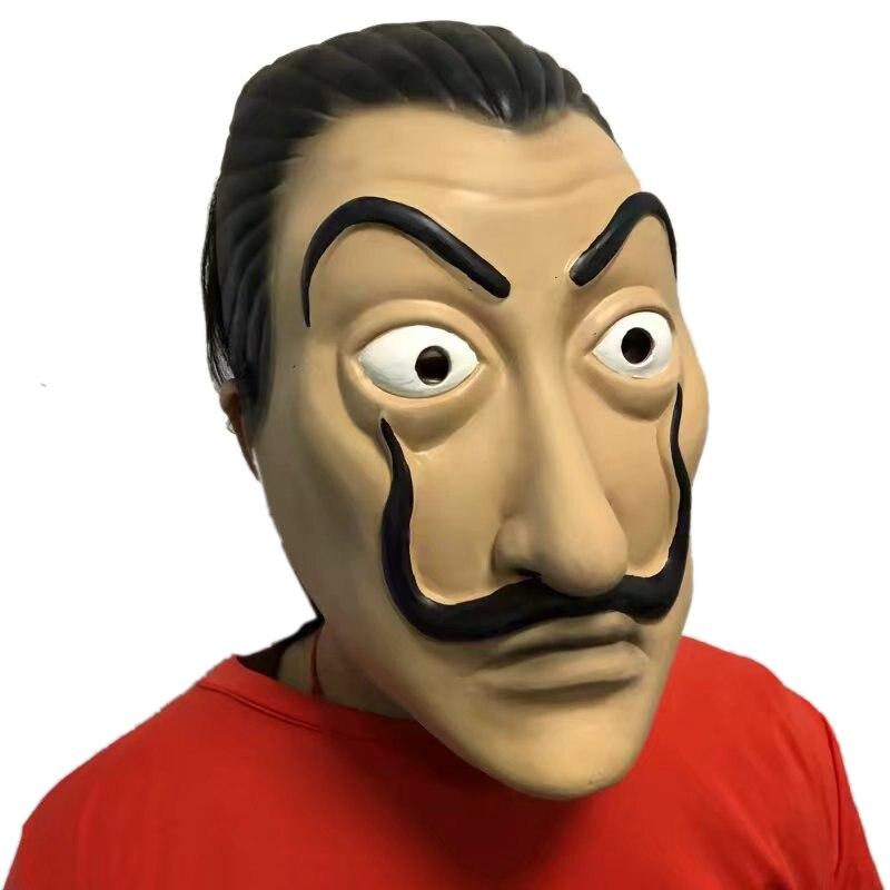 latex salvador dali cosplay prop movie mask realistic party mask la casa de papel face mask in