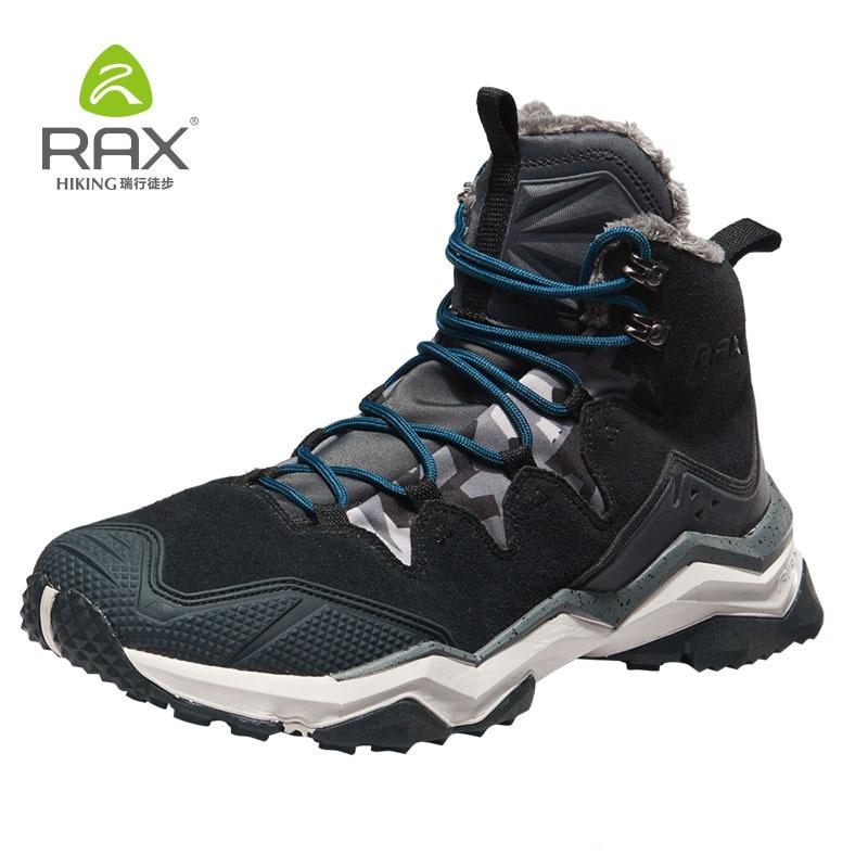 RAX Hiking Boots Men Waterproof Winter Snow Boots Fur lining Lightweight Trekking Shoes Warm Outdoor Sneakers Mountain Boots Men