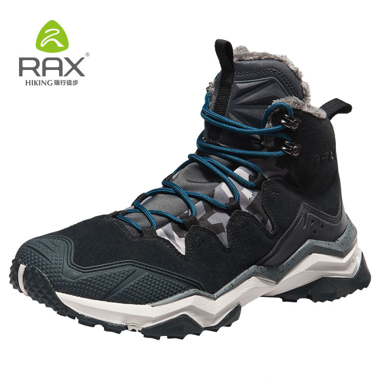 RAX Hiking Boots Men Waterproof Winter Snow Boots Fur lining Lightweight Trekking Shoes Warm Outdoor Sneakers Mountain Boots Men
