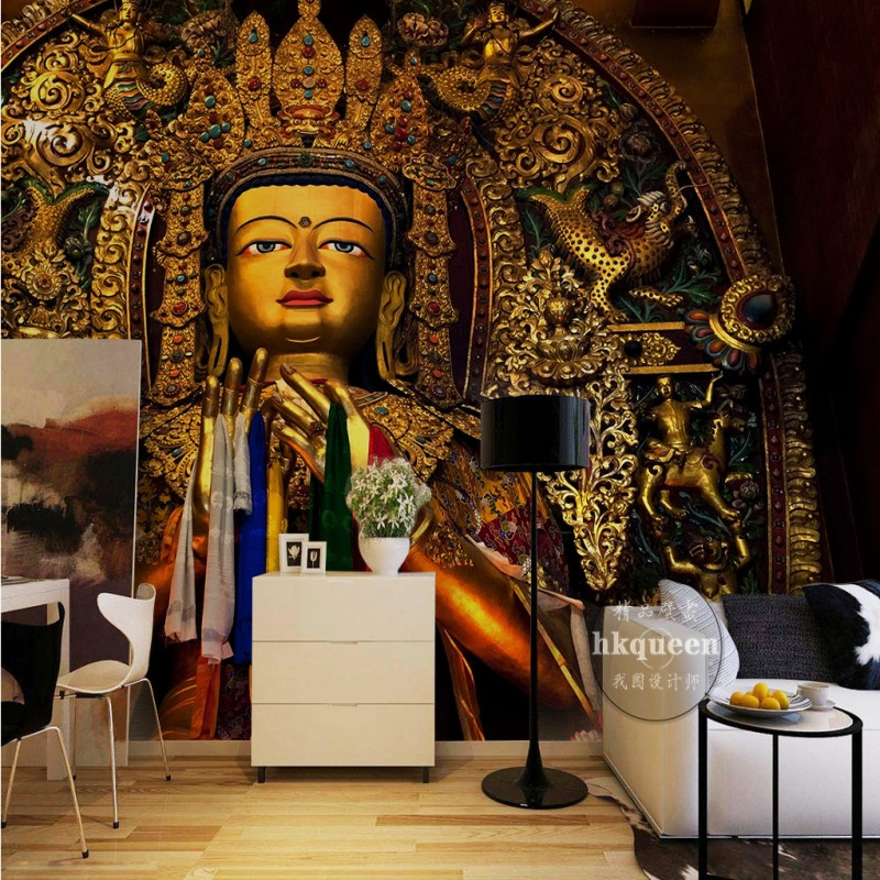 custom wall mural Golden retro Buddha wall painting bedroom living room wallpaper 3D study room custom mural custom baby wallpaper snow white and the seven dwarfs bedroom for the children s room mural backdrop stereoscopic 3d