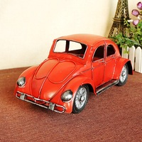 1812 Scale Car Model Beetle Model Tin Ornaments Red Yellow