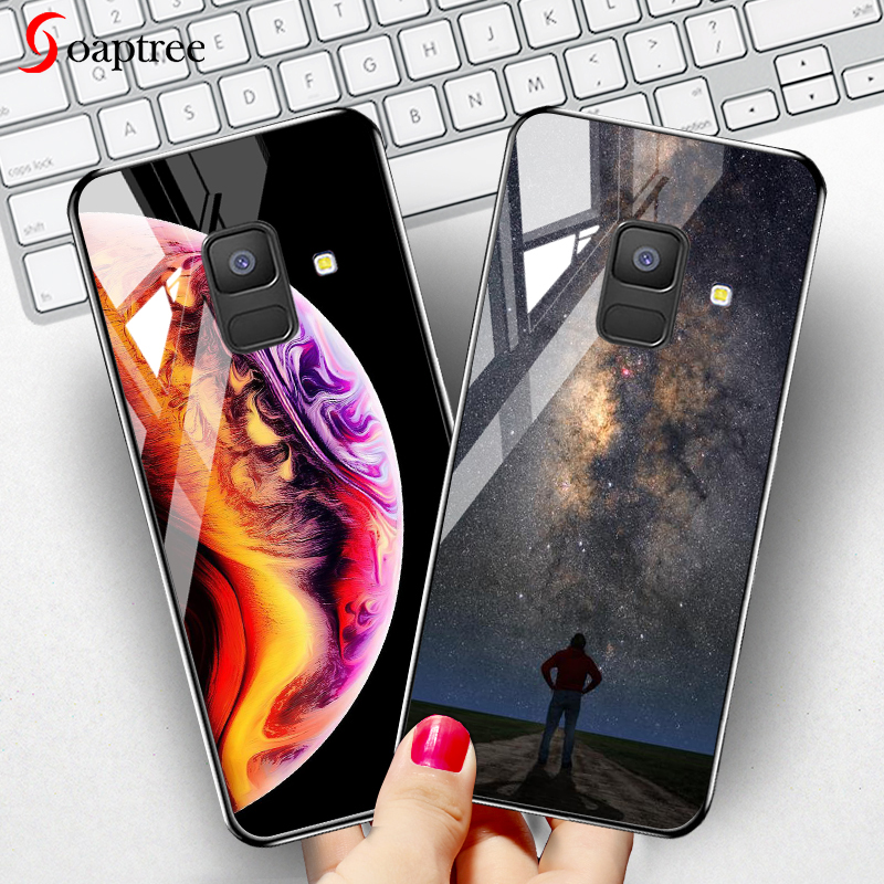 Soaptree Tempered Glass Case for <font><b>Samsung</b></font> Galaxy A8 A6 Plus 2018 Cases Star Space Cartoon for <font><b>Samsung</b></font> A8 A730F <font><b>A530F</b></font> <font><b>Cover</b></font> Bumper image