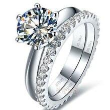 Белый цвет золота 0,6-3 карат Сона Имитация Gem обручальное кольцо наборы для женщин, 925 Серебряное кольцо цвет комплекты, обещание кольца