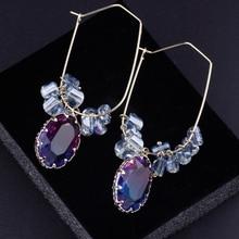 CocoANGEL Tourmaline Drop earrings  Crystal Copper & Electroplating Geometric Sterling Earring Fashion For Women