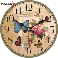 MEISTAR Vintage Round Beautiful Flower Design Wall Clocks Classic Watches Silent Home Cafe Kitchen Decoracion Hogar Clock
