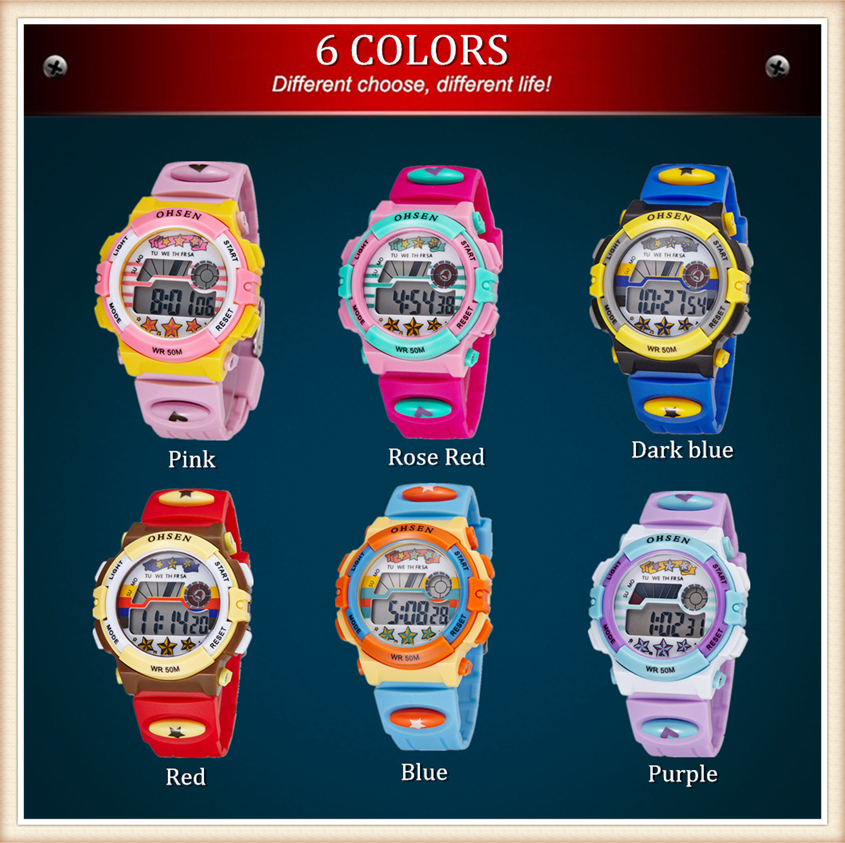 Original OHSEN Brand Children Boys Digital LCD Wristwatch Light Blue Silicone Band Kids Electronic Sports 50M Waterproof Watches (31)