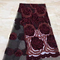 Wine Color African Lace Fabric 2019 High Quality French Velvet Lace Fabric With Beads Lace Fabric For Wedding Party