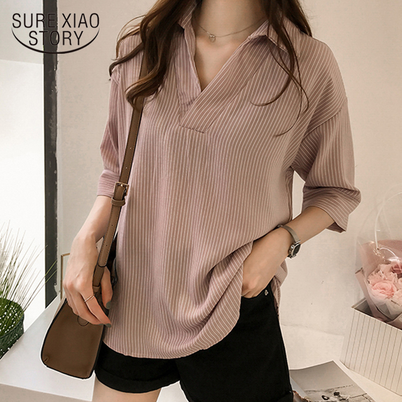 New 2018 Spring Summer Casual Striped Women Blouses Shirts Sexy Fashion Loose Soft Shirt Female Tops Clothing Blusas 0643 40
