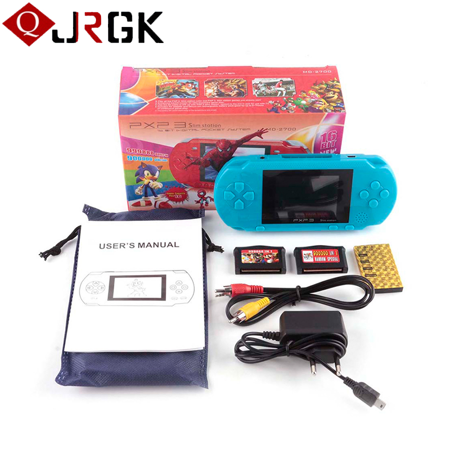 Portable 16 Bit PXP3 Handheld Game Player Video Game Console with AV Cable+2 Game Cards Classic Child Games PXP 3 Slim Station sanwa button and joystick use in video game console with multi games 520 in 1