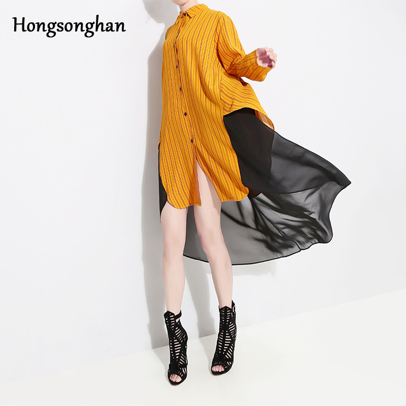 Hongsonghan Spring Womens dresses Chiffon Spliced Loose Striped Dress Ladies Casual Long Girl Tops fashion big vestido