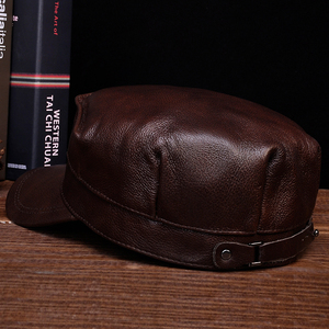 Image 4 - HL059  Mens genuine leather baseball cap hat brand new spring real leather adult solid adjustable army hats/caps
