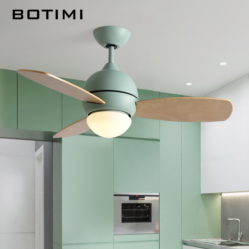 BOTIMI Colorful Ceiling Fan Ventilador De Techo LED Fans For Living Room Restaurant Cooling Ceiling Fans With Lights