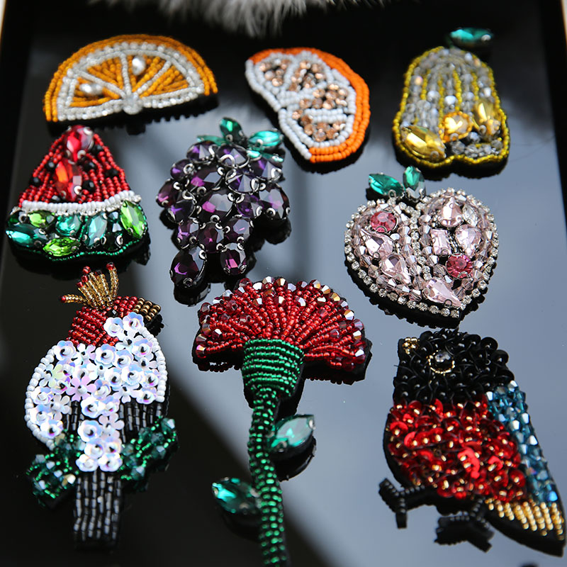 Crystal Cherry Bird Rhinestones Patches Beaded Brooch Badges For Shoes Clothes Decorated Sewing Accessories RP148