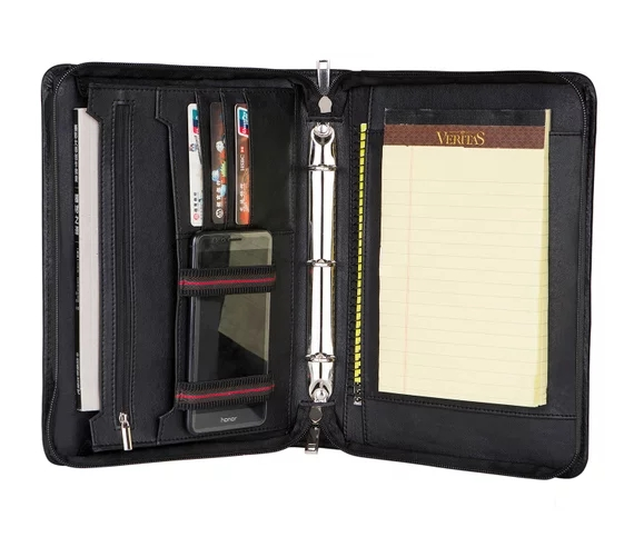 843352acb90d iLooker Personalized Fine Leather Leather Portfolio Zippered ...
