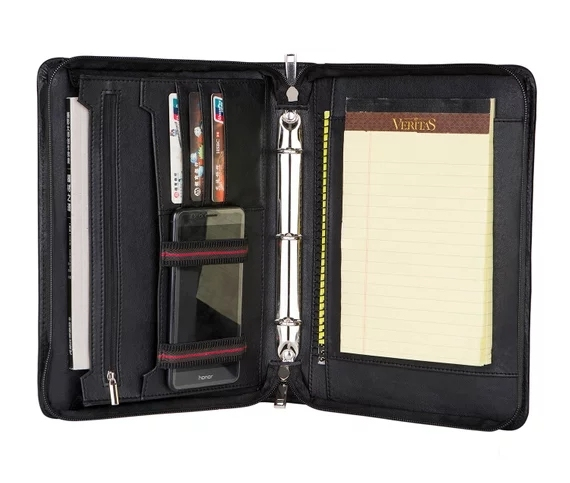 Ilooker Personalized Fine Leather Portfolio Zippered Padfolio With Detachable Case And 3 Ring Binder