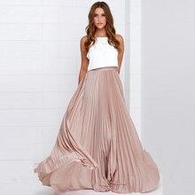 Fashion Pleated Skirts Women Zipper Waist A Line Floor Length Long Skir