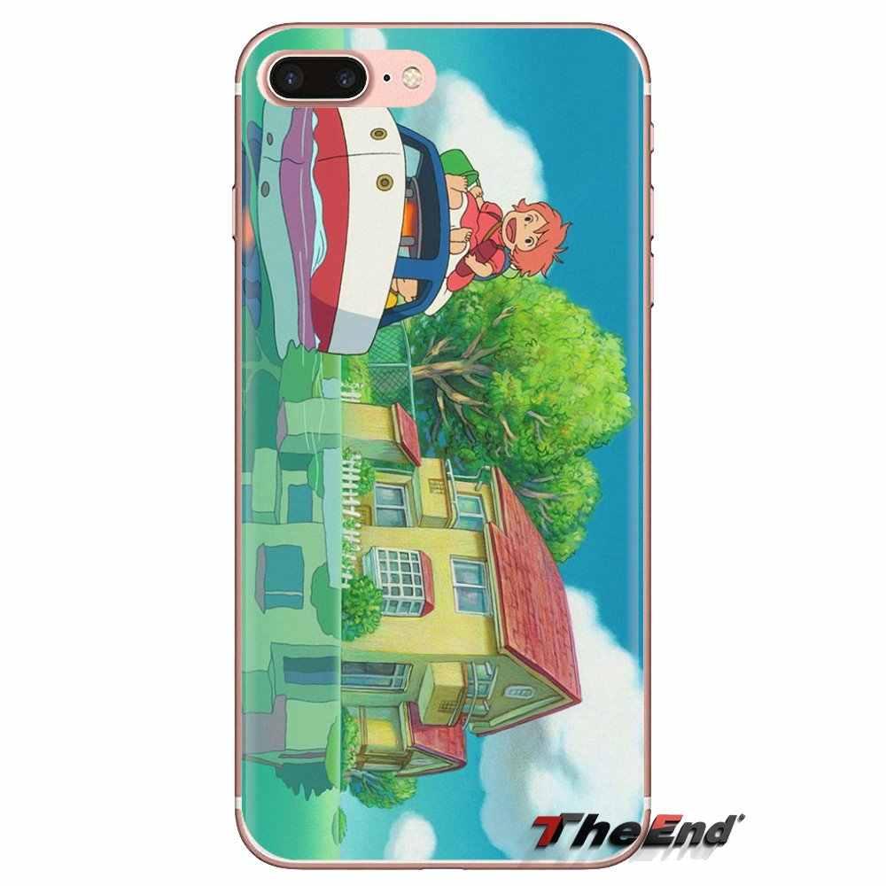 Kartun Ponyo Di Tebing Cetak untuk Samsung Galaxy S3 S4 S5 Mini S6 S7 Edge S8 S9 S10 PLUS catatan 3 4 5 8 9 Transparan Soft Case
