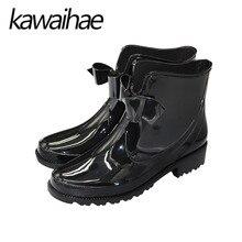 Black Buttefly-kont Women Rain Boots Shoes Autumn Winter Female Chelsea Martins Waterproof Women Rubber Boots Brand Kawaihae