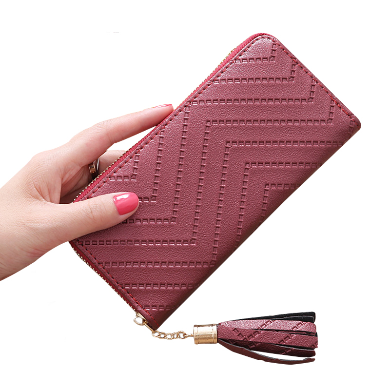 2017 Women Wallet Long Clutch High Quality Leather Dollar Price Tassel Women Purse Card Coin Holder Carteira Feminina LM4113ay