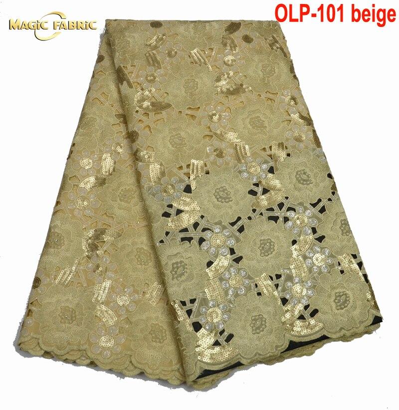 Brodé Organza Tissu Dentelle Ruban Avec Paillettes New Organza Africaine Handcut Pour Les Vêtements À Coudre Tissu De Mariage Robe OLP-101
