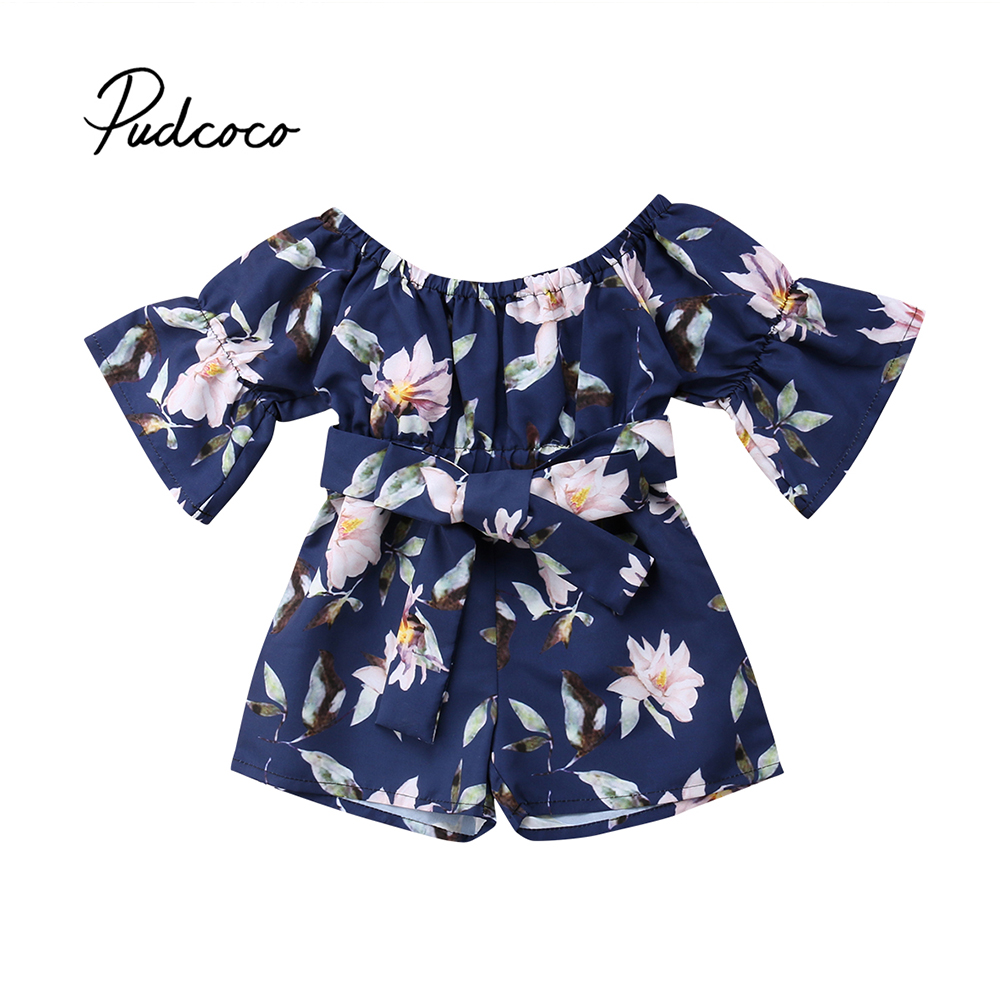 Princess 2018 Newborn Baby Girl Romper Floral Print Waistband Flared Sleeve Sunsuit Jumpsuit Playsuit Summer Clothes Outfits