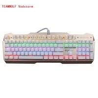 Teamwolf vodstorm Ciy механическая клавиатура 104key Черный Синий переключатель игровой клавиатурой с подсветкой для ноутбука PC Gamer русский Стикеры