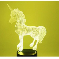 3D LED Night Light Dynamic Unicorn With 7 Colors Light For Home Decoration Lamp Amazing Visualization