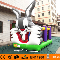 Commercial Lovely 18*12ft Rabbit Inflatable Bouncer Castle with Slide and CE Blower