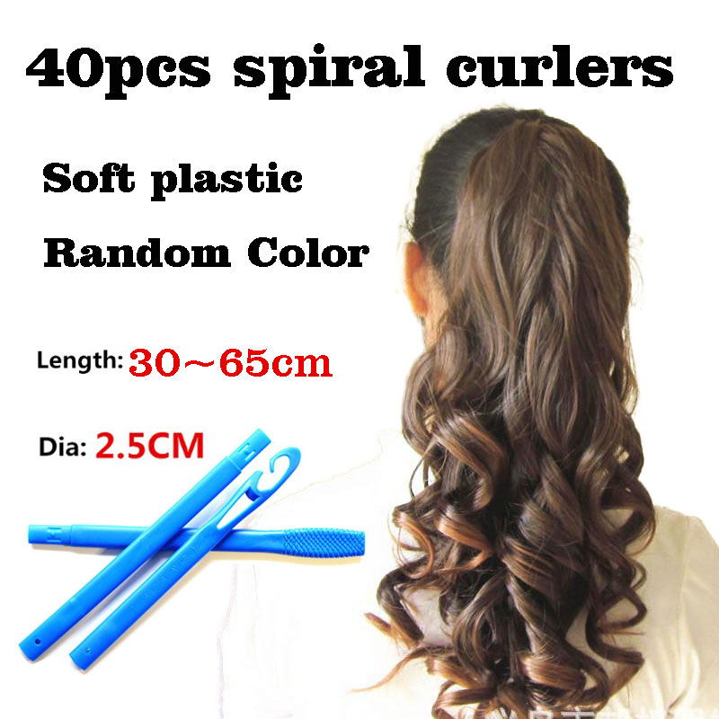 40pcs soft plastic magic hair spiral curlers rollers curls tool diy hairstyle accessories 30-65cm for long hair Lady girl kids