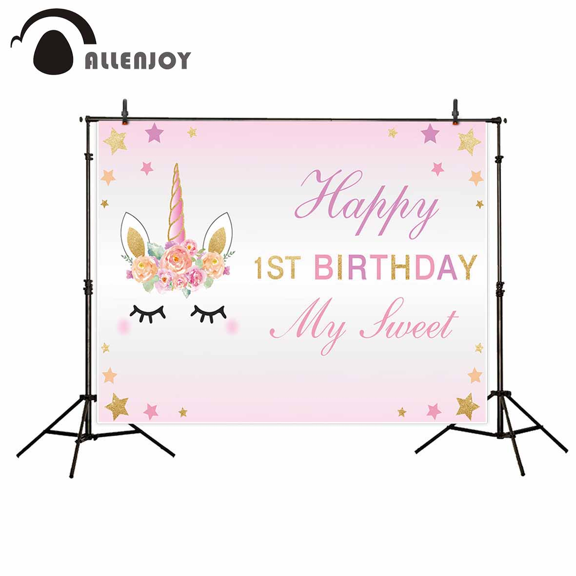 Allenjoy photography background 1 year old girl birthday unicorn custom professional festival backdrop photographic product