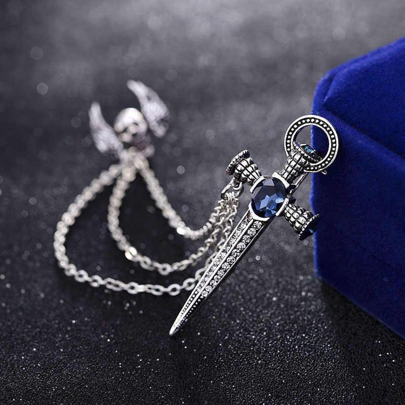 Модный этнический A Крыло кристалл меч крест нагрудный знак брошь Мужская ветровка бутоньерка для костюма значок кисточкой цепи брошей