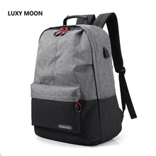 LUXY MOON New FashionMen's Backpack Oxford Cloth Casual Computer Backpack USB Charging College Students Travel School Bag