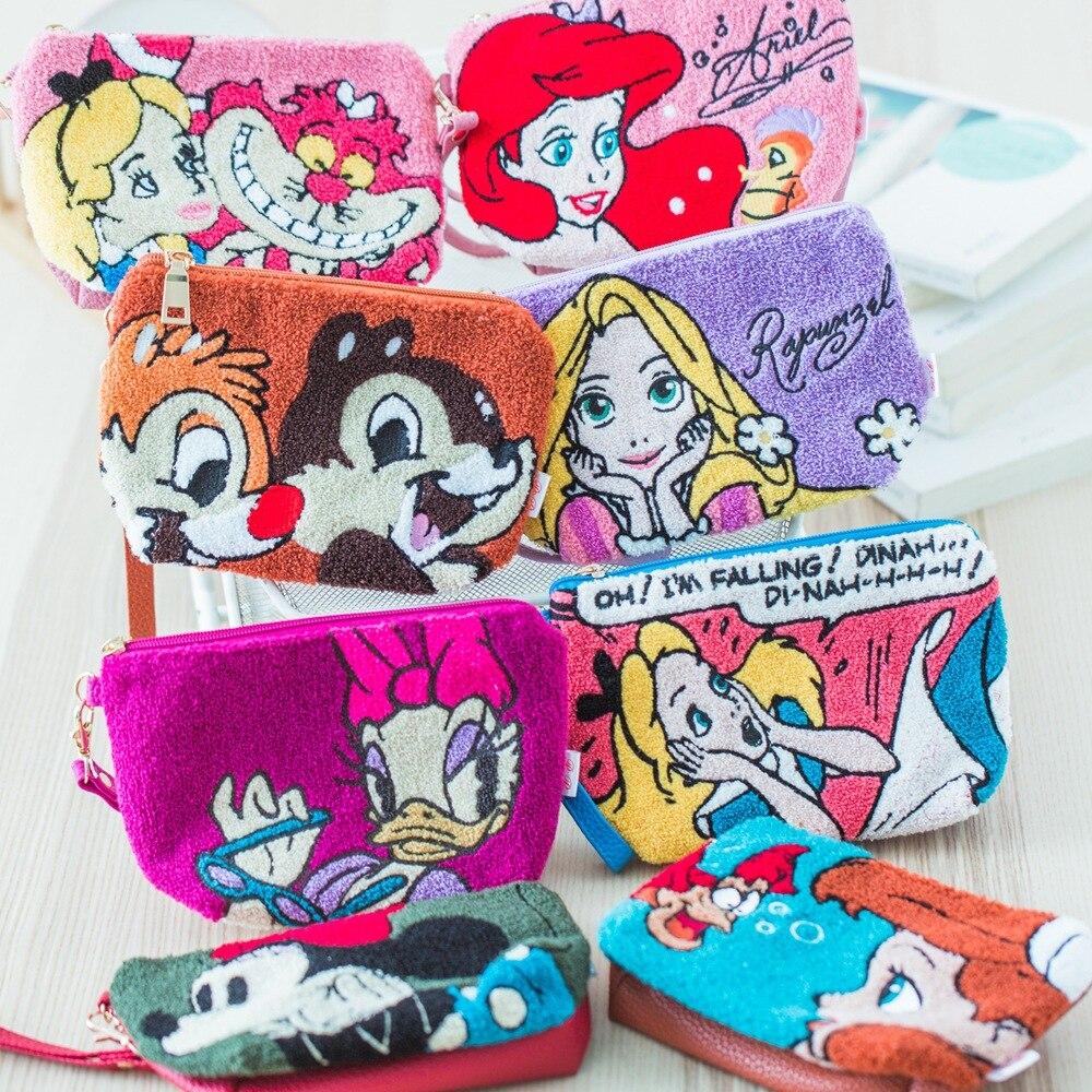 Disney Princess Lady Cartoon Coin Plush Purse Lovely Make Up Bag Girl Gift Storage Key Headset Bag Cosmetic Bag Packet