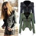 Nuevas mujeres Denim chaqueta delgado de la cremallera de la motocicleta Vintage remache punky Casaco Feminina Jaqueta Bolero Plus Size